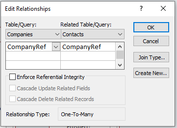 Microsoft Access: Details of a relationship in Relationship view.