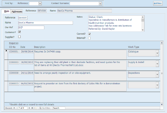 One screen from a CRM system with integrated Enquiry Management
