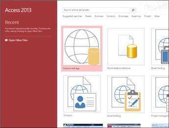 Access 2013 file menu