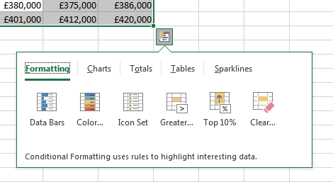 Microsoft Excel 2016 Quick Analysis