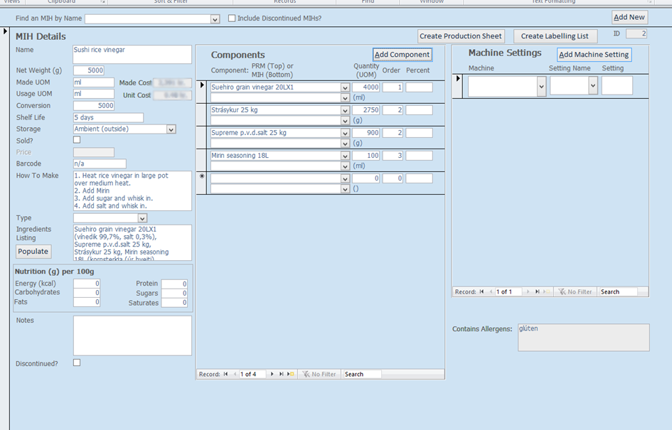 screenshot of components database